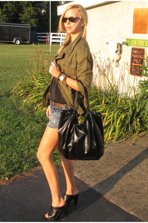 olive green Forever 21 jacket - American Eagle shorts - black Target top