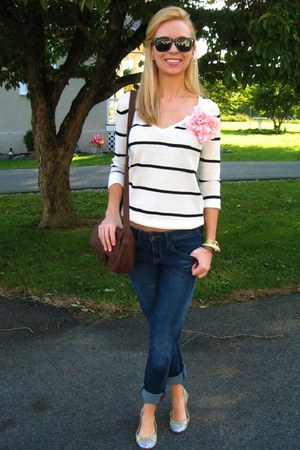navy Target jeans - white Forever 21 sweater - brown Target bag