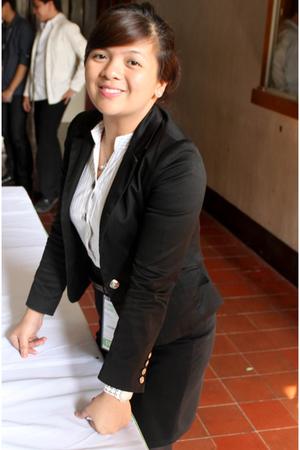 black blazer - white blouse - brown belt - black skirt - white accessories