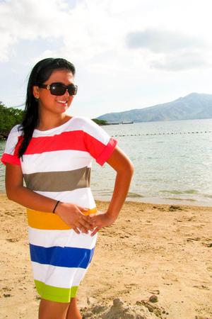 black sunglasses - white dress