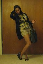 black shoes - manels purse - Walmart shorts - blouse - black cardigan - black be