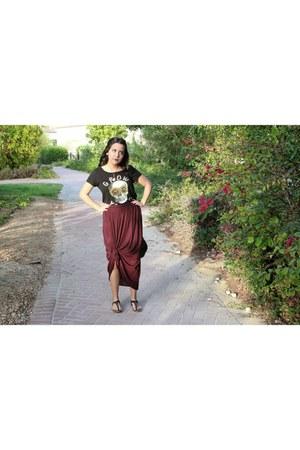 magenta maxi skirt American Eagle skirt - black satchel Forever 21 bag