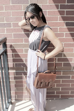 periwinkle high low Target skirt - dark brown satchel H&M purse