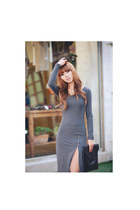 heather gray zipper dress HAUTE & REBELLIOUS dress - black vintage bag