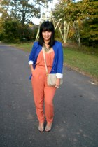 blue Zara blazer - carrot orange asos jumper - eggshell peep toe Guess pumps