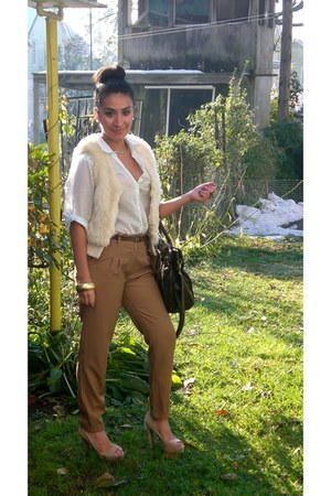 cream fur vest H&M vest - camel tapered H&M pants - sky blue H&M blouse