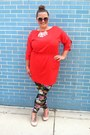 Ruby-red-french-connection-dress-dark-green-leggings