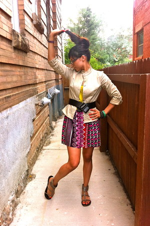 beige jacket - hot pink skirt - maroon skirt - mustard top - tan sandals