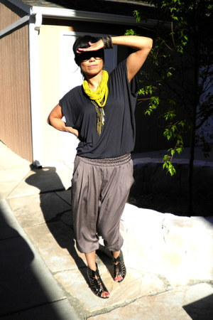 mustard scarf - heather gray pants - black heels - navy top - dark brown bracele