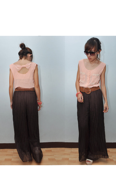 peach sheer blouse - dark brown firmoo sunglasses - neutral wedges