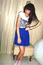 Forever21 t-shirt - handmade skirt - cheap belt - somewhere socks - Converse sho