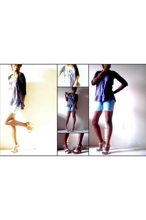 eggshell Rue 21 pumps - blue shorts - light purple American Eagle top
