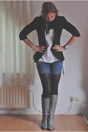 heather gray River Woods boots - navy diy H&M jeans - black Zara blazer