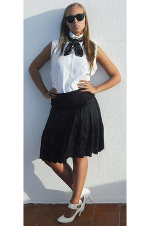 black Ray Ban glasses - black scarf - white shirt - white shoes - black skirt