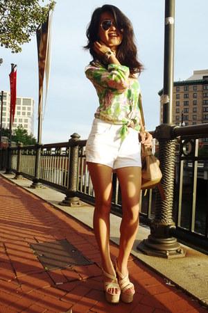 light brown no brand bag - white white vintage shorts