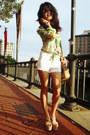 White-white-vintage-shorts-chartreuse-blouse-bubble-gum-vintage-blouse
