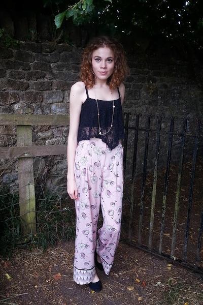 River Island pants - flatform next pumps - new look necklace - crop new look top