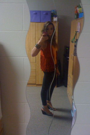 orange hollister vest - silver Michael Kors shoes - black Hudson pants - orange