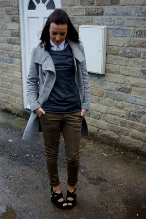 Zara coat - asos top - new look blouse - Matalan pants - Primark wedges