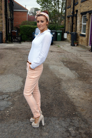 vintage scarf - whistles jeans - Mango shirt - Garage shoes heels
