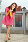 Hot-pink-topshop-dress-neon-cuffs-veva-deeluxe-bracelet