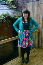 H&M cardigan - vintage skirt - Primark vest - Primark tights - below 7 shoes - U