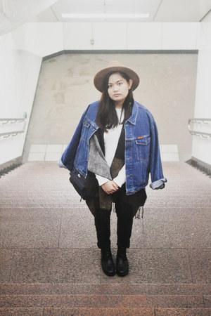 black H&M boots - black Forever 21 jeans - light brown Forever 21 hat