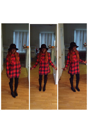 shirt - riding boots boots - hat