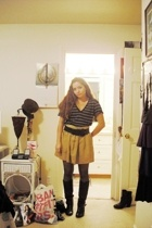 UO shirt - forever 21 skirt - thrifted belt - Steve Madden boots
