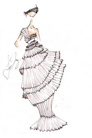white drawn by me dress