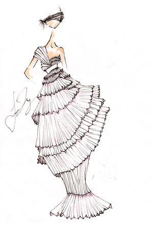 white drawn by me dress