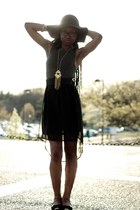 black H&M hat - heather gray River Island dress - gold XSRE necklace