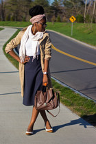 camel trench H&amp;M coat - H&amp;M purse - midi H&amp;M skirt - white H&amp;M blouse