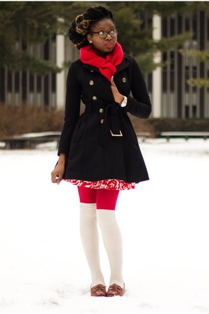 black dress H&amp;M coat - red tights - red cashmere scarf