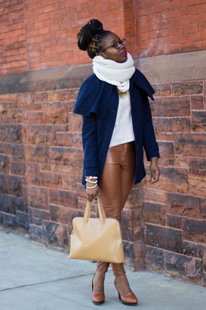 navy H&amp;M coat - beige H&amp;M sweater - tan Cole Haan bag - tawny H&amp;M pants