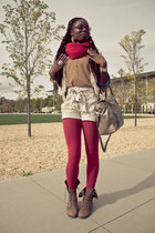 H&M sweater - combat boots Steve Madden boots - tights - cashmere scarf