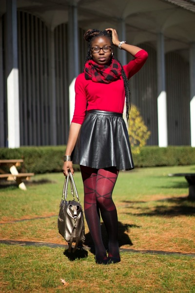 black Qupid shoes - black romwe tights - red JCPenney tights - black H&M skirt