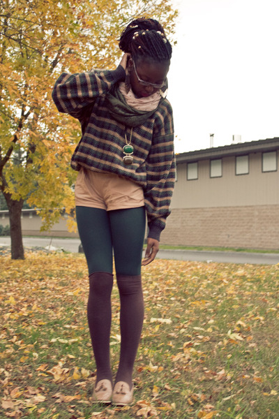 camel H&M romper - forest green thrifted sweater - forest green Express tights