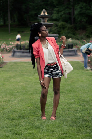 coral thrifted blazer - white Bebe bag - striped New York & Company shorts