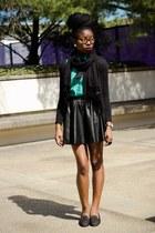 black leather skater H&M skirt - black XSRE scarf - teal thrifted blouse