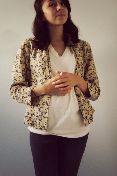 yellow thrifted cardigan - white American Apparel shirt - blue Target jeans - go