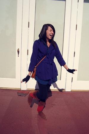 purple Forever 21 coat - blue dress - black Damsel leggings - black gloves - vin