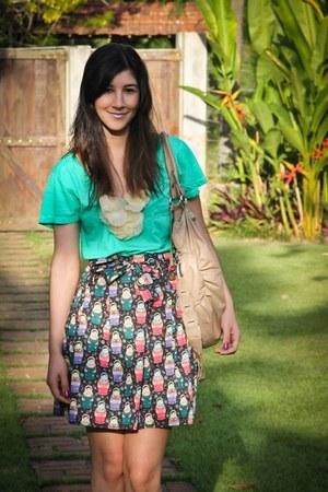 aquamarine Dress to shirt - tan Via Lorenzzi bag - camel my shoes shoes - eggshe