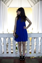 blue pleated asos dress - black studded clutch Renner bag - black ankle boots Sc