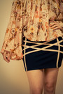 Bronze-open-toe-andarella-shoes-navy-bandage-striped-bacchus-skirt-peach-flo