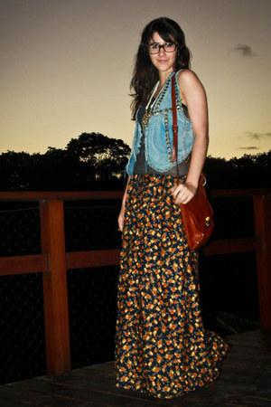 orange maxi skirt Renner skirt - bronze lace up Andarella shoes