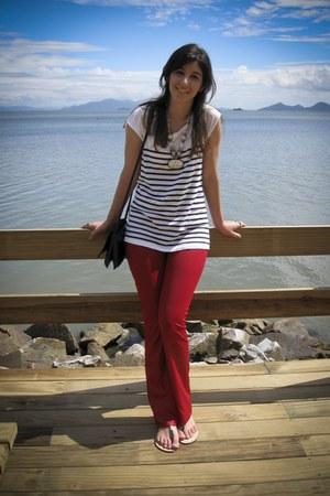 black leather luz da lua bag - white navy striped Zara t-shirt - ruby red vintag