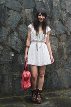 dark brown leather Bata boots - white lace Renner dress - salmon leather bag Mr