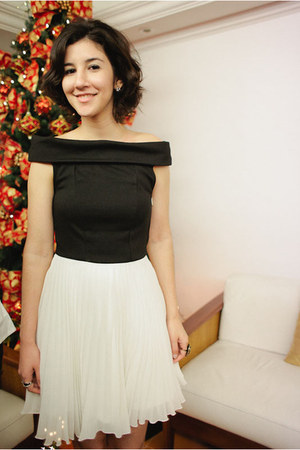 white plaid asos dress - black laser cut Juliana Beltrao heels