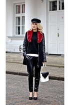 black baker boy hat vintage hat - crimson faux fur vintage scarf